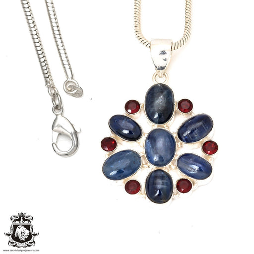 Kyanite Garnet Pendant 4mm Snake Chain P7280