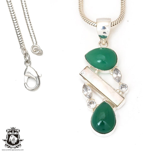 Emerald Pearl Pendant 4mm Snake Chain P7281