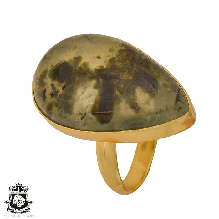 Size 9.5 - Size 11 Adjustable Prehnite 24K Gold Plated Ring GPR803