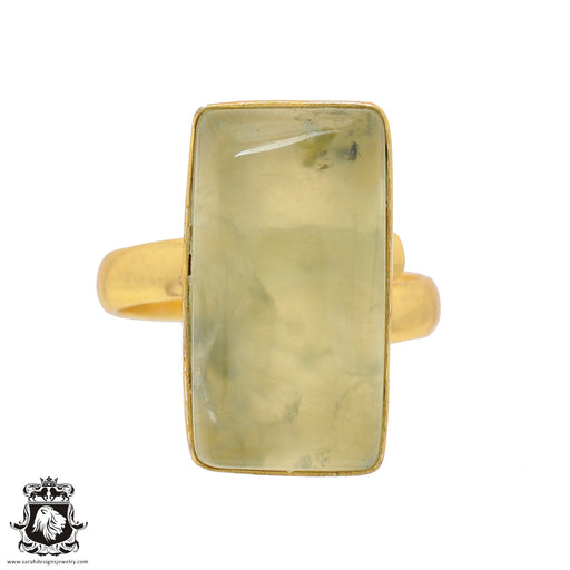 Size 8.5 - Size 10 Adjustable Prehnite 24K Gold Plated Ring GPR806