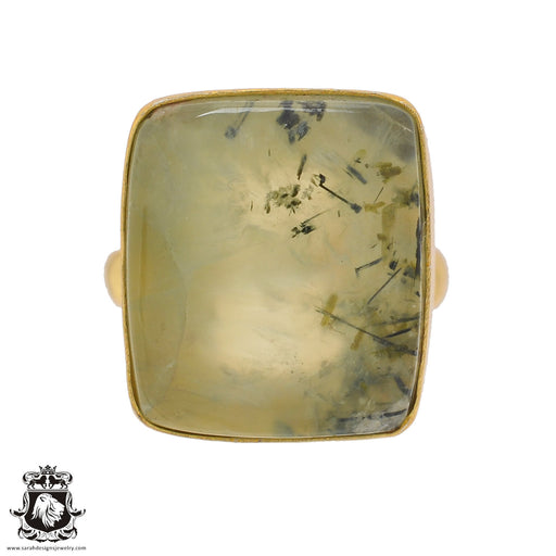 Size 9.5 - Size 11 Adjustable Prehnite 24K Gold Plated Ring GPR812