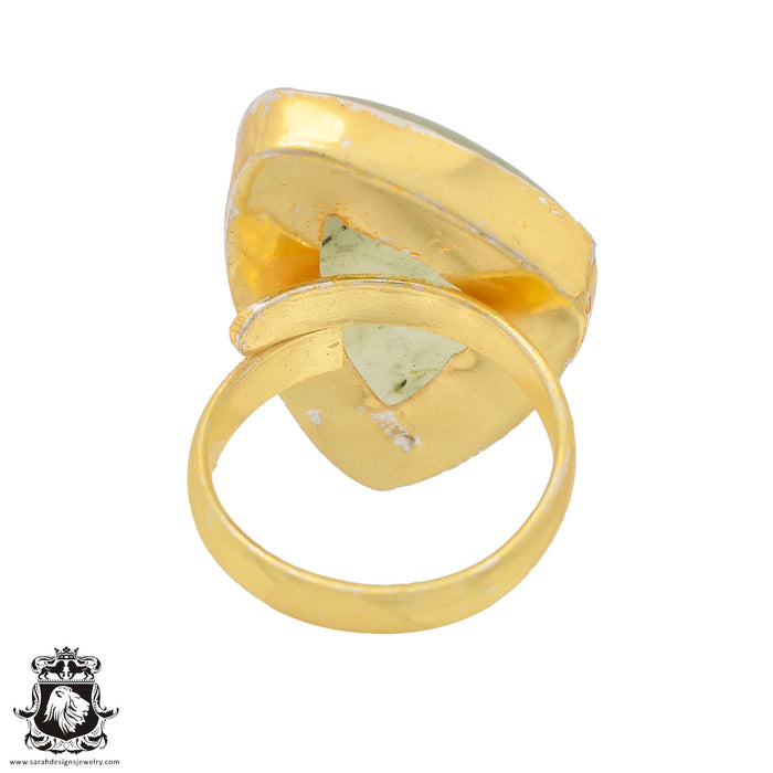 Size 6.5 - Size 8 Adjustable Prehnite 24K Gold Plated Ring GPR815