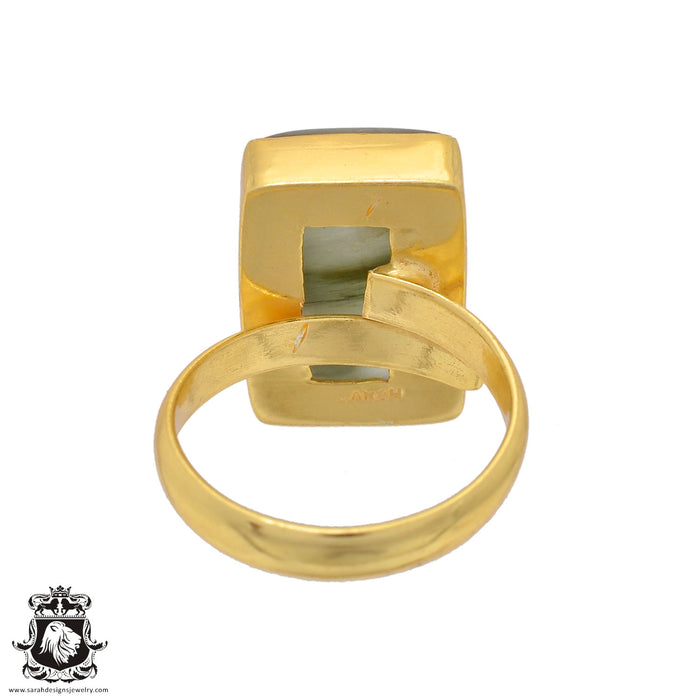 Size 8.5 - Size 10 Adjustable Prehnite 24K Gold Plated Ring GPR816