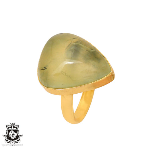 Size 10.5 - Size 12 Adjustable Prehnite 24K Gold Plated Ring GPR810