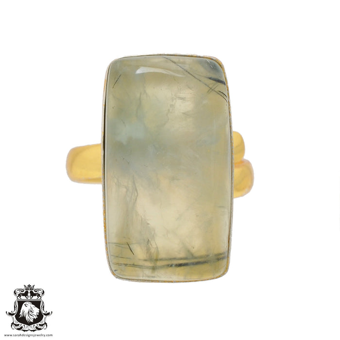 Size 9.5 - Size 11 Adjustable Prehnite 24K Gold Plated Ring GPR817