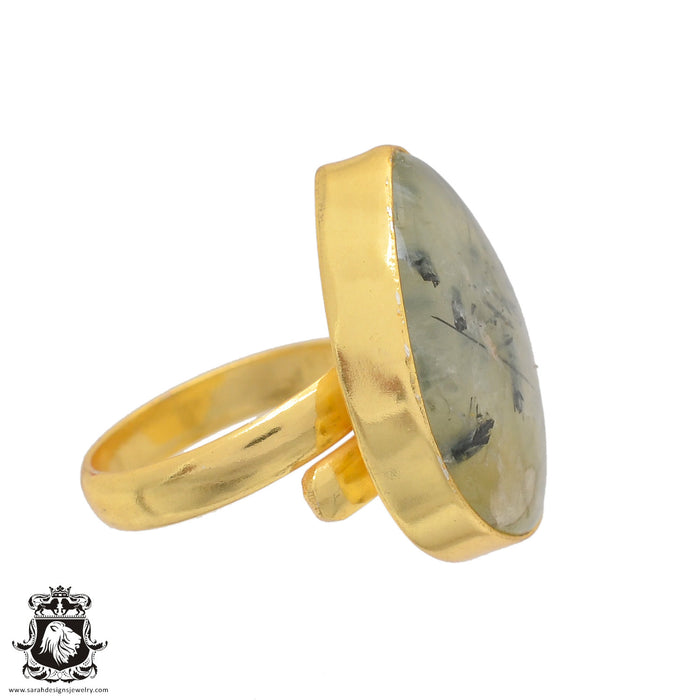 Size 8.5 - Size 10 Adjustable Prehnite 24K Gold Plated Ring GPR818