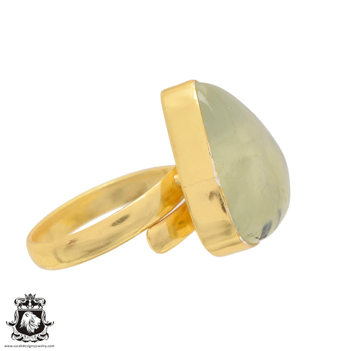 Size 10.5 - Size 12 Adjustable Prehnite 24K Gold Plated Ring GPR825