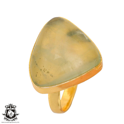 Size 9.5 - Size 11 Adjustable Prehnite 24K Gold Plated Ring GPR827