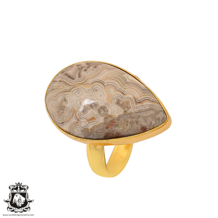 Size 9.5 - Size 11 Adjustable Crazy Lace Agate 24K Gold Plated Ring GPR862