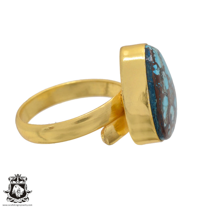 Size 9.5 - Size 11 Adjustable Number Eight Turquoise 24K Gold Plated Ring GPR891