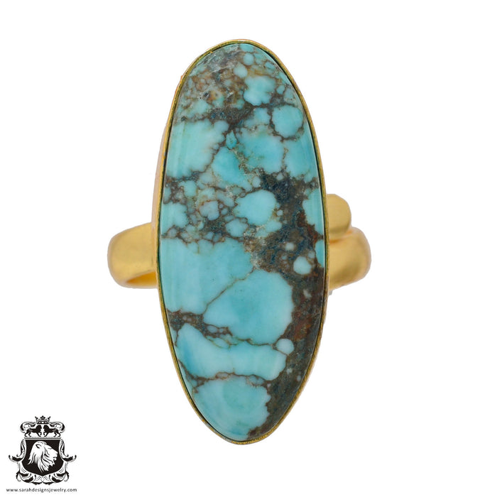 Size 7.5 - Size 9 Adjustable Number Eight Turquoise 24K Gold Plated Ring GPR892