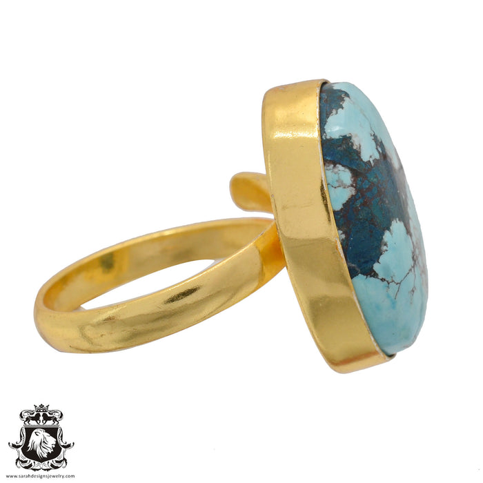 Size 10.5 - Size 12 Adjustable Number Eight Turquoise 24K Gold Plated Ring GPR894