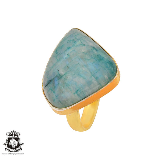 Size 7.5 - Size 9 Adjustable Garnierite Green Moonstone 24K Gold Plated Ring GPR916
