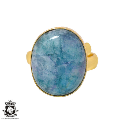 Size 6.5 - Size 8 Adjustable Garnierite Green Moonstone 24K Gold Plated Ring GPR920