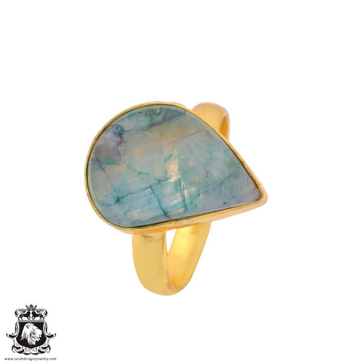 Size 8.5 - Size 10 Adjustable Garnierite Green Moonstone 24K Gold Plated Ring GPR921