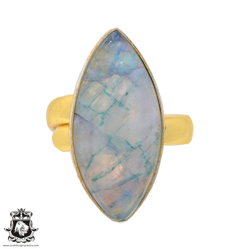 Size 6.5 - Size 8 Adjustable Garnierite Green Moonstone 24K Gold Plated Ring GPR924