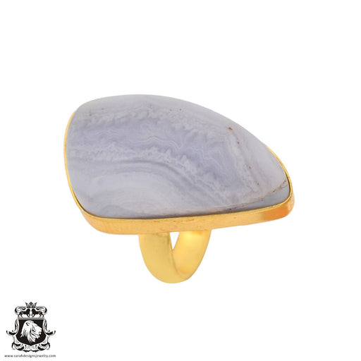 Size 7.5 - Size 9 Adjustable Blue Lace Agate 24K Gold Plated Ring GPR926