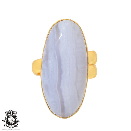 Size 6.5 - Size 8 Adjustable Blue Lace Agate 24K Gold Plated Ring GPR928