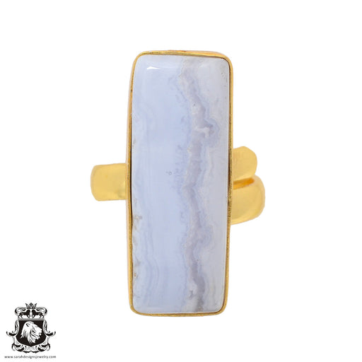 Size 6.5 - Size 8 Adjustable Blue Lace Agate 24K Gold Plated Ring GPR929
