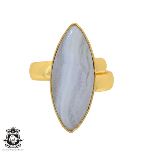 Size 7.5 - Size 9 Adjustable Blue Lace Agate 24K Gold Plated Ring GPR931