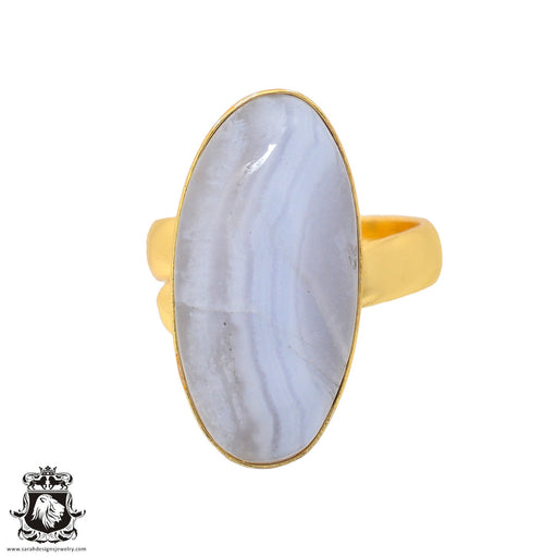 Size 6.5 - Size 8 Adjustable Blue Lace Agate 24K Gold Plated Ring GPR933