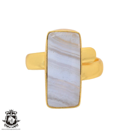 Size 7.5 - Size 9 Adjustable Blue Lace Agate 24K Gold Plated Ring GPR934