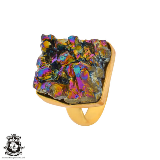 Size 7.5 - Size 9 Adjustable Chalcopyrite Peacock Ore 24K Gold Plated Ring GPR939