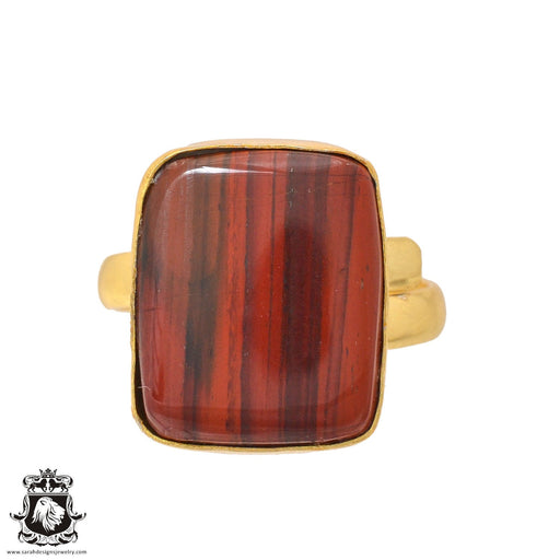 Size 10.5 - Size 12 Adjustable Red Tiger's Eye 24K Gold Plated Ring GPR946