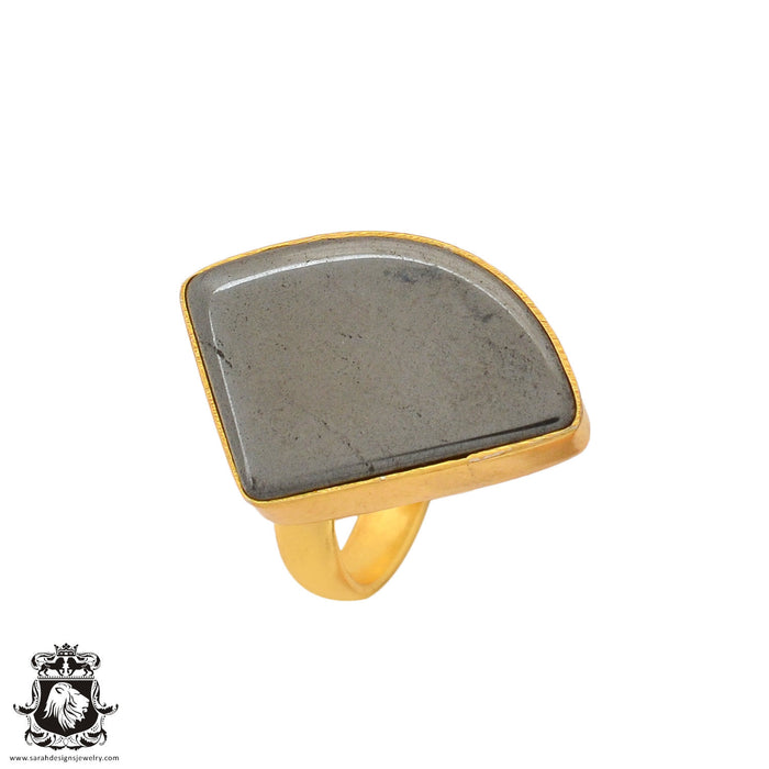 Size 6.5 - Size 8 Adjustable Hematite 24K Gold Plated Ring GPR949