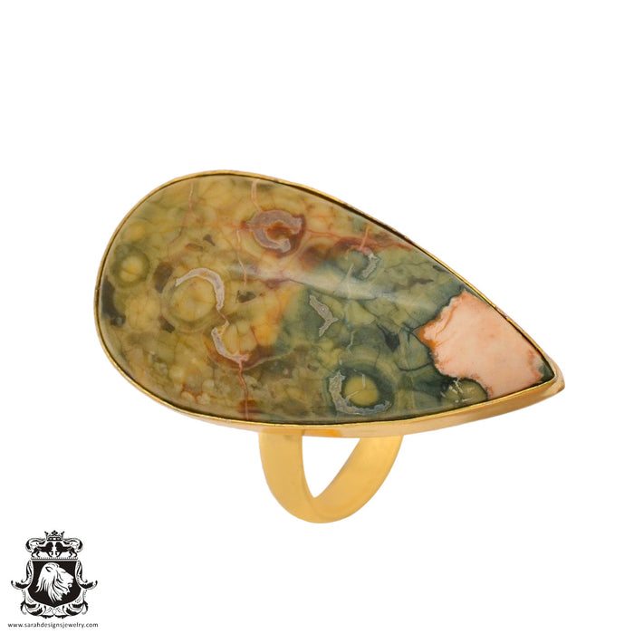 Size 10.5 - Size 12 Adjustable Rhyolite Rainforest Jasper 24K Gold Plated Ring GPR1015