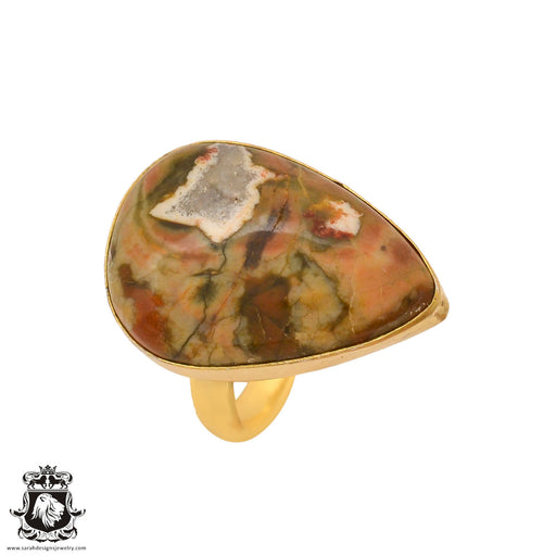 Size 10.5 - Size 12 Adjustable Rhyolite Rainforest Jasper 24K Gold Plated Ring GPR1016