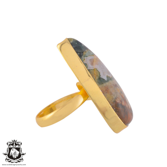 Size 9.5 - Size 11 Adjustable Rhyolite Rainforest Jasper 24K Gold Plated Ring GPR1017