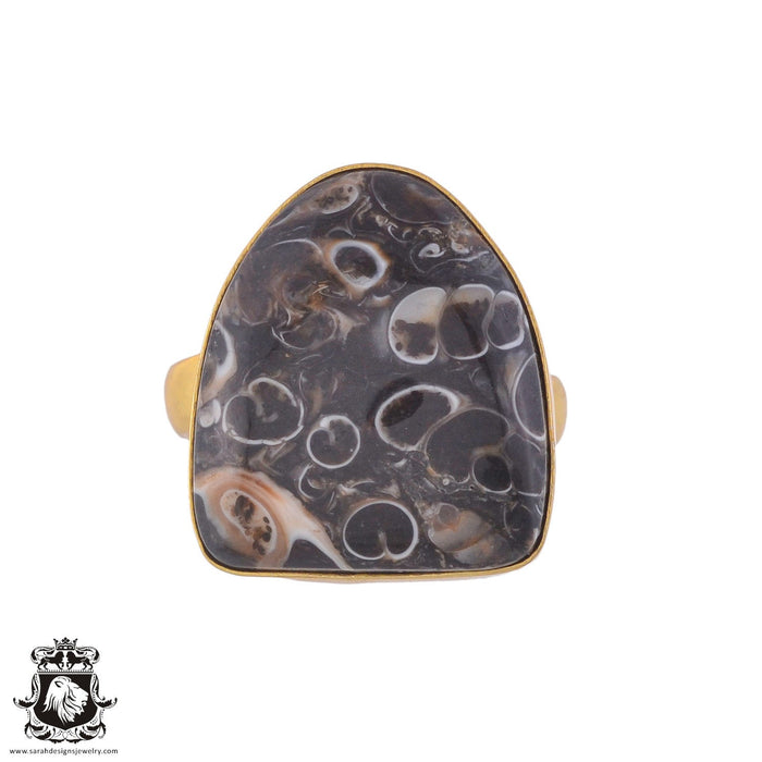 Size 9.5 - Size 11 Adjustable Turritella Agate Fossil 24K Gold Plated Ring GPR1027