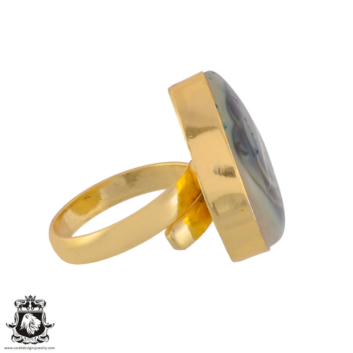 Size 7.5 - Size 9 Adjustable Imperial Jasper 24K Gold Plated Ring GPR1040