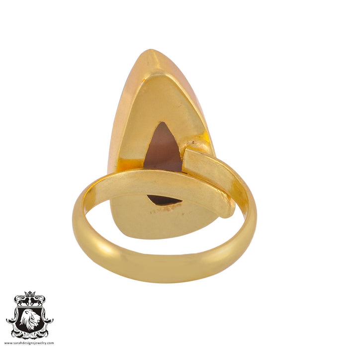 Size 8.5 - Size 10 Adjustable Imperial Jasper 24K Gold Plated Ring GPR1044
