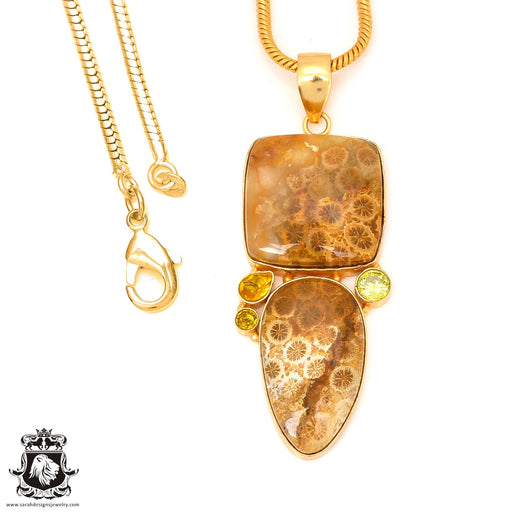 Bali Fossilized Coral Pendant 4mm Snake Chain GP22
