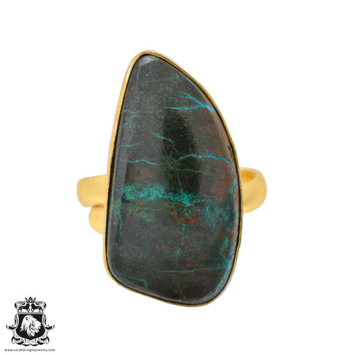 Size 10.5 - Size 12 Adjustable Azurite Malachite 24K Gold Plated Ring GPR1080