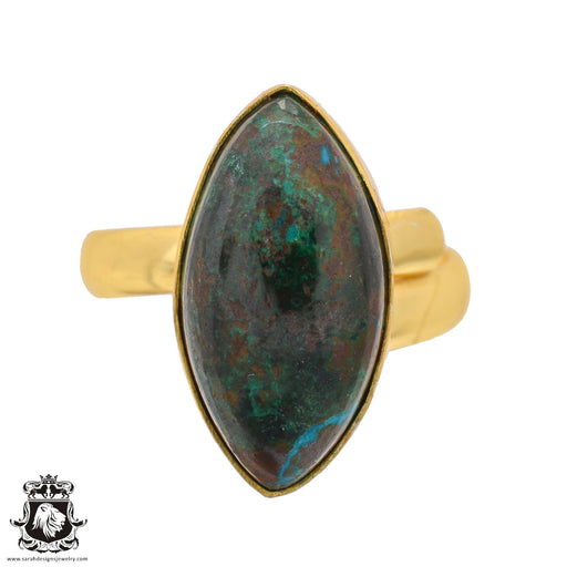 Size 9.5 - Size 11 Adjustable Azurite Malachite 24K Gold Plated Ring GPR1086