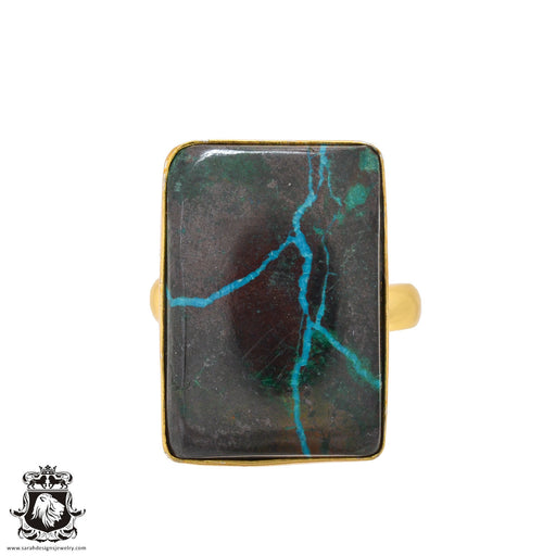 Size 10.5 - Size 12 Adjustable Azurite Malachite 24K Gold Plated Ring GPR1091
