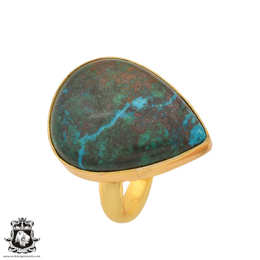 Size 9.5 - Size 11 Adjustable Azurite Malachite 24K Gold Plated Ring GPR1098