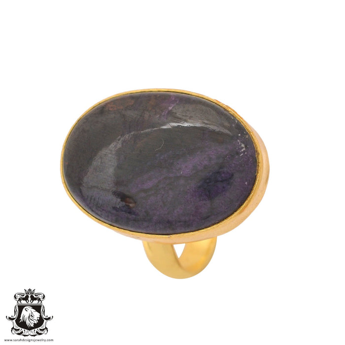 Size 8.5 - Size 10 Adjustable Sugilite 24K Gold Plated Ring GPR1100
