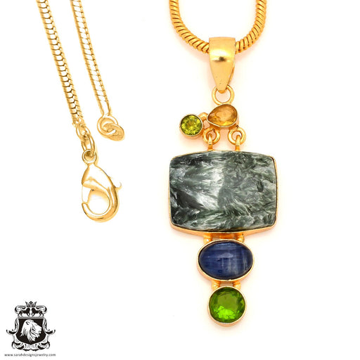 Seraphinite 24K Gold Plated Pendant 4mm Snake Chain GP47