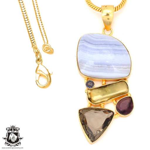 Blue Lace Agate 24K Gold Plated Pendant 4mm Snake Chain GP66