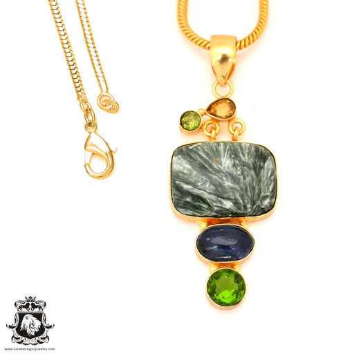 Seraphinite 24K Gold Plated Pendant 4mm Snake Chain GP69
