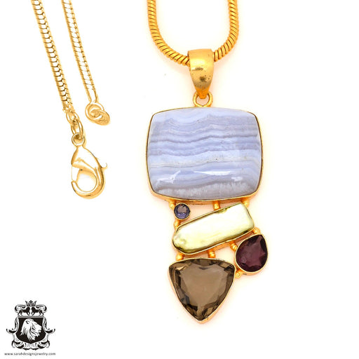 Blue Lace Agate 24K Gold Plated Pendant 4mm Snake Chain GP78
