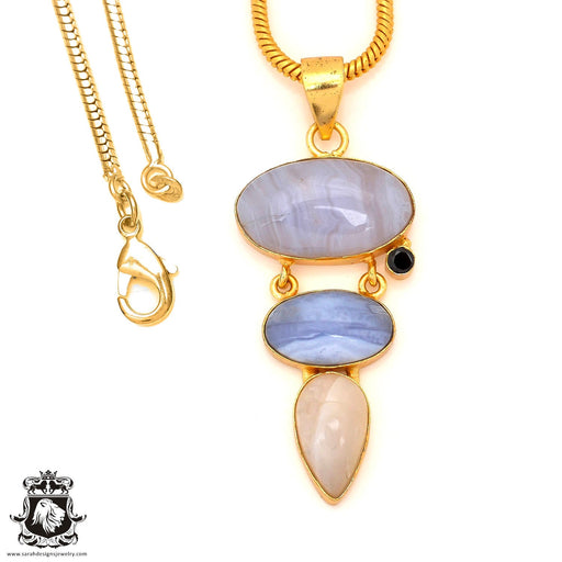 Blue Lace Agate 24K Gold Plated Pendant 4mm Snake Chain GP85