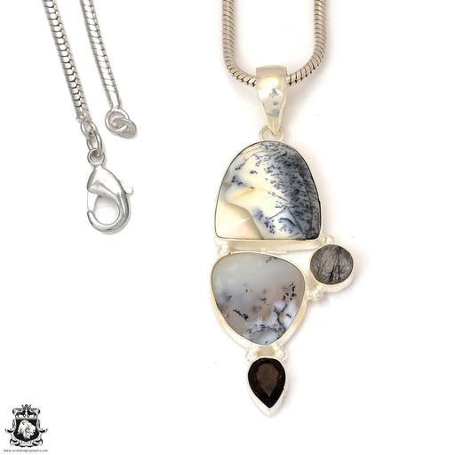 Dendritic Agate Smoky Topaz Pendant 4mm Snake Chain P7325