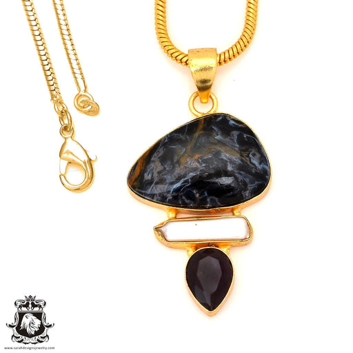 Pietersite 24K Gold Plated Pendant 4mm Snake Chain GP91