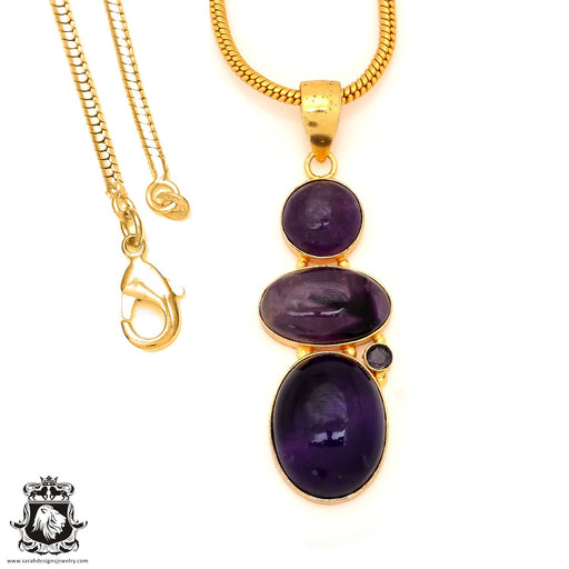 Amethyst 24K Gold Plated Pendant 4mm Snake Chain GP95