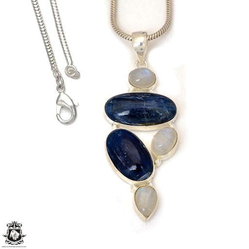 Kyanite Moonstone Pendant 4mm Snake Chain P7342